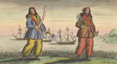 Engraving showing two Pirates, ca 1720