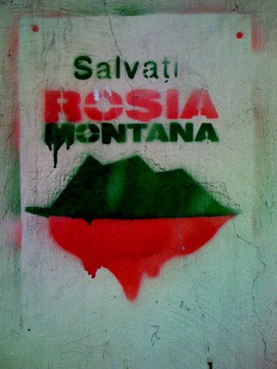 Salvati Rosea Montana graffiti.