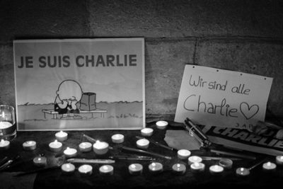 Candles for the victims of the Charlie Hebdo shooting.