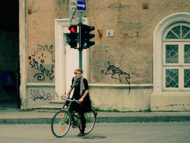 Lithuanian woman on a bike