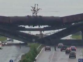 destroyed railway bridge in Donbass