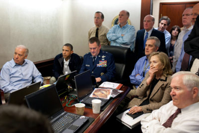 Situation Room of the White House during the Osama bin Laden mission.