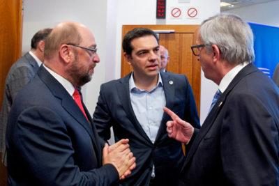 Martin Schulz, Alexis Tsipras and Jean-Claude Juncker