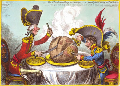 "James Gillray's ""The Plumb-pudding in danger; or, State epicures taking un petit souper…"", 1805."