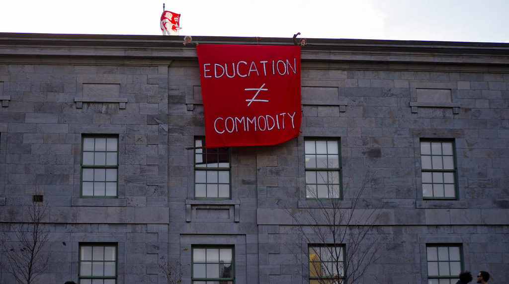 Protest banner at McGill University in 2011.