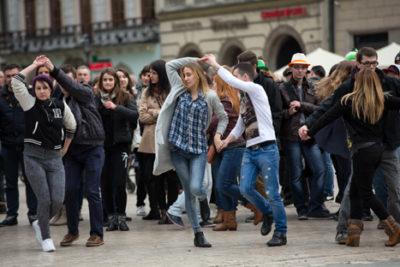 International Rueda De Casino Multi Flash Mob Day, Main Square in Cracow, Poland, 28 March 2015. Photo: wjarek / shutterstock.com. Source: Shutterstock