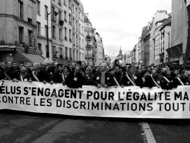 French Protesters with banner for same-sex marriage