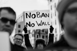 """No Ban No Wall, Thursday evening rally against Trump's """"Muslim Ban"""" policies sponsored by Freedom Muslim American Women's Policy. Photo: Lorie Shaull. Source: Flickr"""