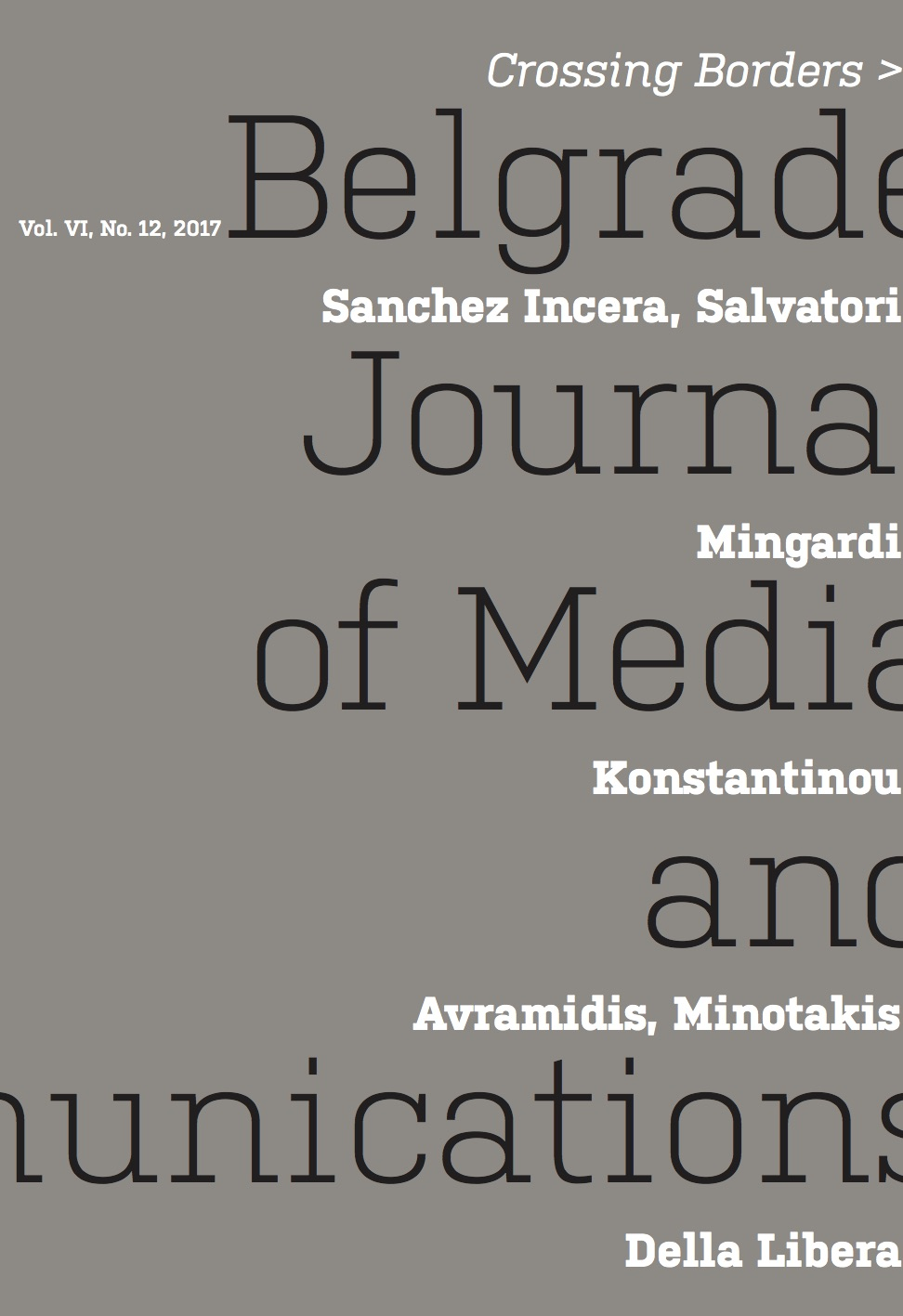 Cover of Belgrade Journal of Media and Communications